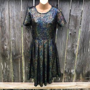 LuLaRoe Amelia Dress Black Rainbow Foil Metallic